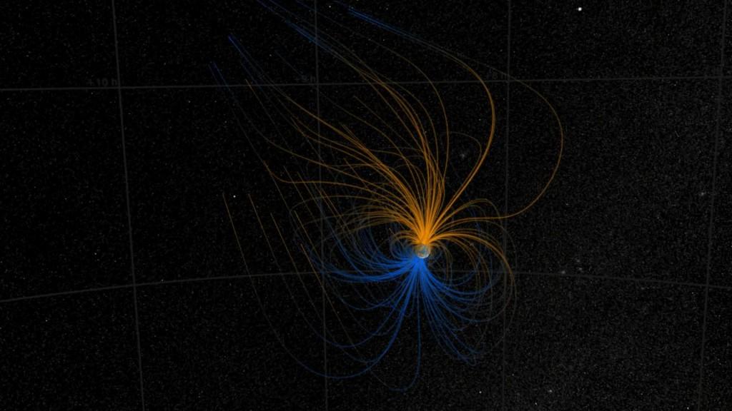 Modelo Simple  del Campo Magnético de la Tierra | Crédito: NASA/Goddard Space Flight Center Scientific Visualization Studio | pulse en la imagen para ir a la fuente