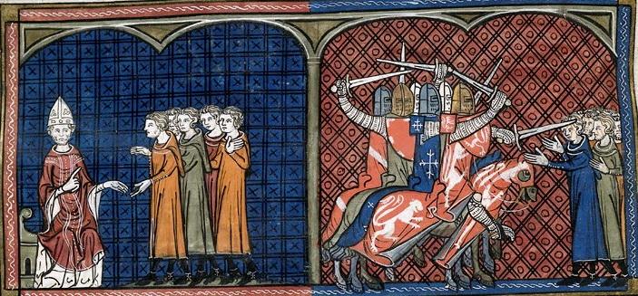 Papa Inocencio III excomulgando a los albigenses (izquierda), Masacre de los cruzados contra los albigenses (derecha)
