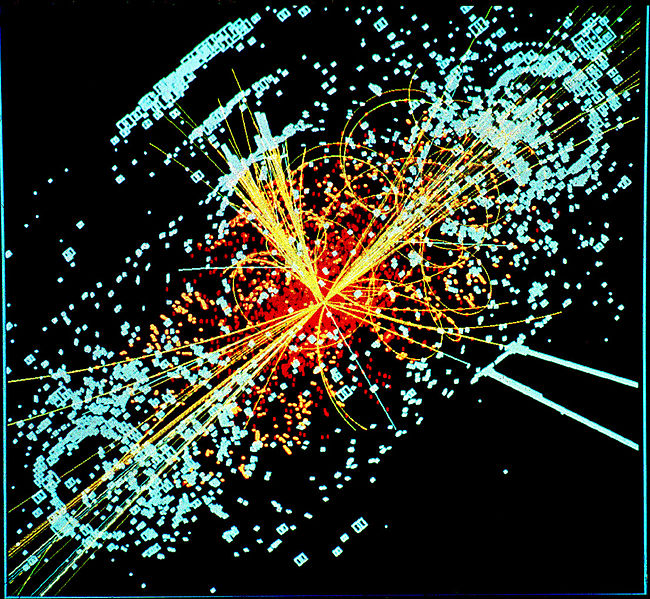 Ejemplo de datos simulados modelados para el detector de partículas CMS en el Gran Colisionador de Hadrones | An example of simulated data modeled for the CMS particle detector on the Large Hadron Collider